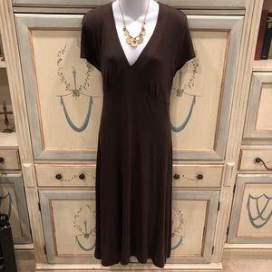 Boden brown long jersey short-sleeve dress 8